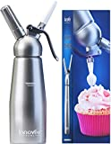 Innovee Cream Whipper - (1-Pint) Professional Aluminum Whipped Cream Dispenser W/ 3 Decorating Nozzles & Free Desserts Recipes (e-book) - Uses Standard N20 Cartridges (not included)