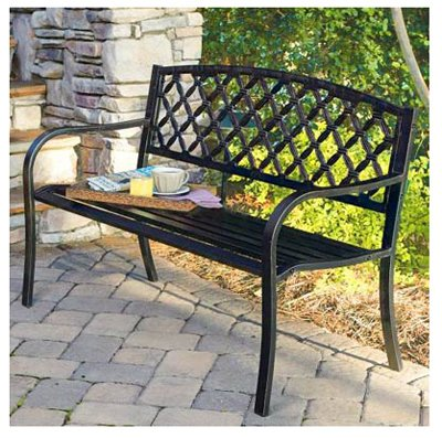 Lattice Back Steel Bench