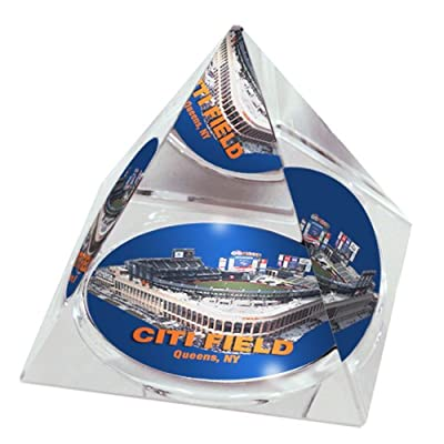 "MLB New York Mets Citi Field in 2"" Crystal Pyramid with Colored Windowed Gift Box"