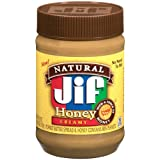 Jif, Naturual Honey Creamy Peanut Butter, 16oz Jar (Pack of 3)