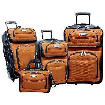 Traveler's Choice Travel Select Amsterdam 4-Piece Expandable Luggage Set (Orange/Black)