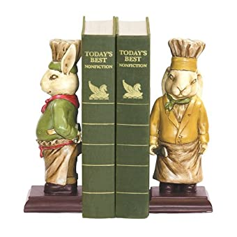Sterling Home Pair of Chef Bunny Bookends 9-Inch Tall