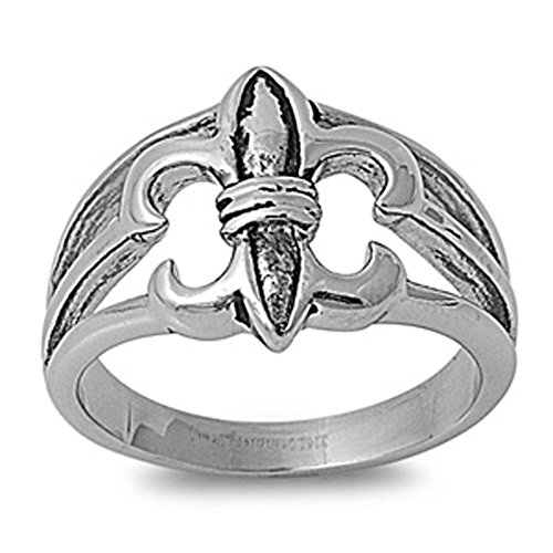 Fleur De Lis Ring Classic Polished Stainless Steel Comfort Fit Band New Usa 15Mm Size 10 Valentines Day Gift