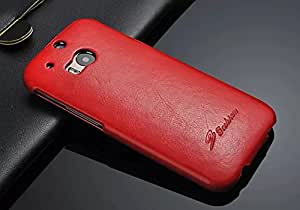 Excelsior Premium Top Flip Leather Cover Case for HTC One M8 (Red)