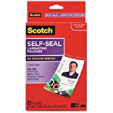 Self-Sealing Laminating Pouches with Clips for ID Badges, 12.8 mil., Glossy, 25/Pack (MMMLS852G)