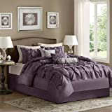 Laurel 7 Piece Comforter Set Size: California King, Color: Plum