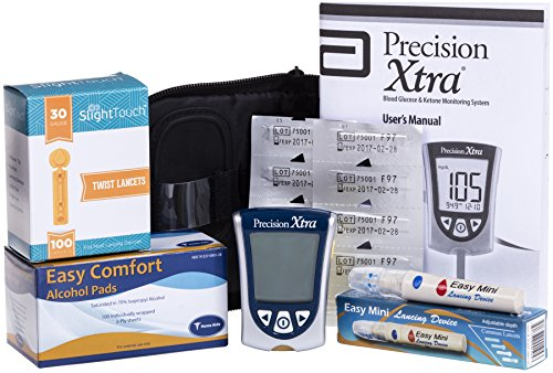 Precision Ketone Diabetes Testing Kit - Precision Xtra Meter+10 Precision Ketone Test Strips, 100 Lancets 30g, Lancing Device and 100 Alcohol Pads