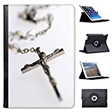 Silver Rosary with Image Of Jesus Christ on Cross For Apple iPad Mini 1, 2, 3 & Retina Leather Folio Presenter Case Cover with Stand Capability