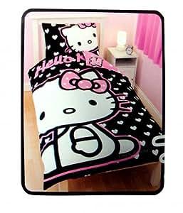 Hello KItty Black Hearts Reversible Duvet Cover Single Panel And Pillowcase