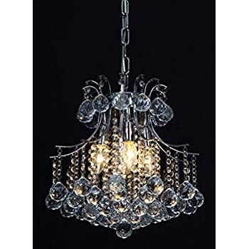 Vintage Crystal Chandelier 4 lights fixture with metal long chain of Ella Fashion