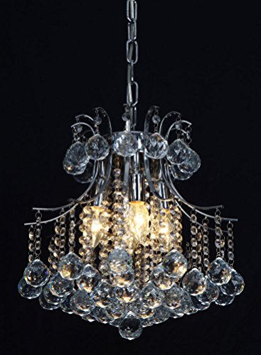 Vintage Crystal Chandelier 4 lights fixture with metal long chain of Ella Fashion 1