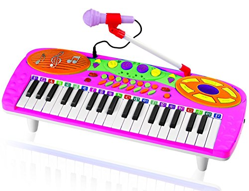 Kids-Authority-37-Keys-standard-Kids-Keyboard-Piano-with-Microphone-Pink