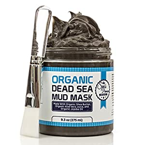 Dead Sea Mud Mask With Free Face Brush - HUGE 9.3oz Facials and Moisture Body Mask - Clears Acne - Anti-Aging Mask - Exfoliate Your Skin's Pores - Natural Moisturize - All Natural - No Artificial Preservatives - Organic - Aloe Vera Juice - Jojoba Oil - Su