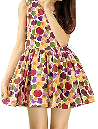 Ladies V Neck Sleeveless Dots Printed Pullover Tent Dress