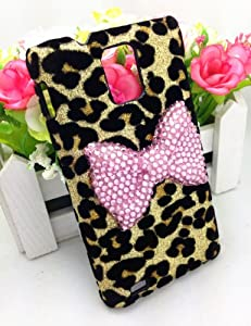 Bling Shiny 3D Pink BOW Leopard Case Cover For Samsung Infuse 4G i997 (AT&T) (Pink Bow)
