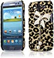 Leopard Pearl Beads Bow Back Skin Cover Case for Samsung Galaxy S3 III i9300