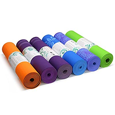 """Yes4All Eco-Friendly 100% TPE Yoga Gym Exercise Mat, Two Anti-Slip Layers, PVC and Toxic Free, Extra Long 72"""", Extra Thick 6mm Cushion"""