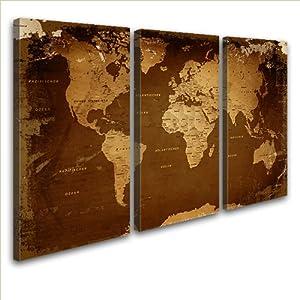 LanaKKWeltkarte Retro Darkedel Leinwand Bild Kunstdruck auf Keilrahmen, fertig gerahmt in 120 x 80 cm, 3teilig    Kundenberichte und weitere Informationen
