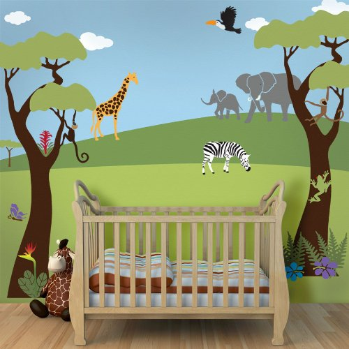 Jungle Wall Stencils For Jungle Theme Wall Mural For Nursery Wall Decor front-1062243