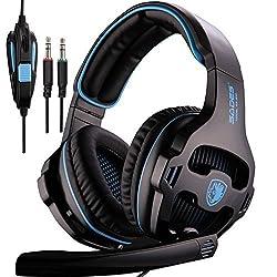 SADES SA810 Black Gaming Headphone Headset for Computer Gamer 3.5mm Plug Stereo Deep Bass Earphone with Microphone