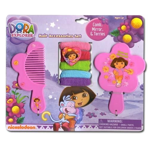 Dora the Explorer Comb, Mirror, & Terries Set 7pc