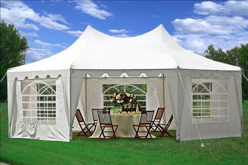 22'x16' Octagonal Wedding Party Gazebo Tent Canopy Heavy Duty Water Resistant White