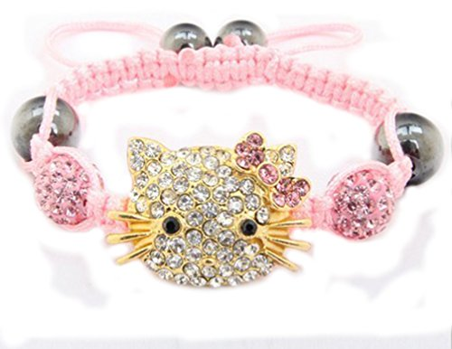 Hello Kitty: Handmade Light Pink Children Shamballa Bracelets - 1
