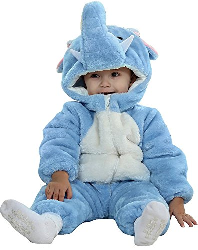 [Baby Toddlers Winter Flannel Rompers Cute Onesies Jumpsuit Party Costume (6-12Months, Elephant)] (Elephant Bunting Costumes)