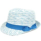 Large XLarge FD-180 Blue Ribbon Pattern Fedora Stetson Women Ladies Gangster Hat