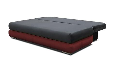 Polstermöbel Celino in grau / rot mit Bettfunktion und Staukasten – Abmessungen: 205 x 95 cm (L x B)