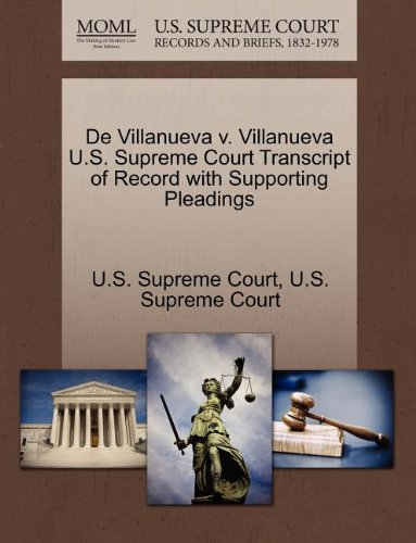 De Villanueva v. Villanueva U.S. Supreme Court Transcript of Record with Supporting Pleadings