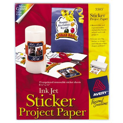 "8.5"" x 11"" Ink Jet Sticker Project Paper 15 Count [Set of 6] - 1"