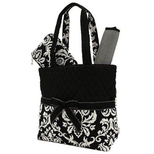 belvah quilted damask 3pc diaper bag black designer nappy bags nappy bags designer. Black Bedroom Furniture Sets. Home Design Ideas