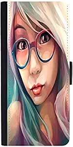 Snoogg Hipster Girl 2853 Graphic Snap On Hard Back Leather + Pc Flip Cover Sa...