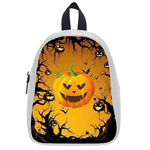 Funny Happy Halloween Elf Jack-O'-Lantern Kid'S School Bag & Backpack For Kids White front-855122