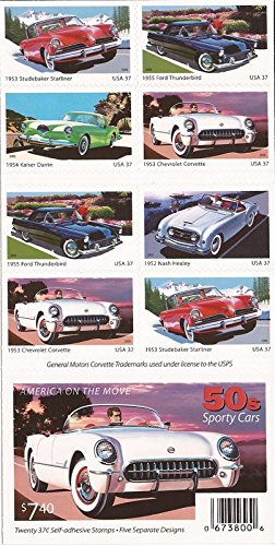 1950's Sporty Cars Collectible Stamp Booklet of Twenty 37 Cent Stamps Scott 3935b by USPS - 1