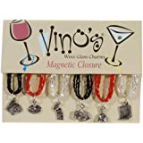 Vino's Fun and Games Magnetic Wine Glass Charms, Set of 6