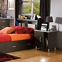 South Shore Cosmos Kids Bookcase Headboard 2 Piece Bedroom Set (Black )