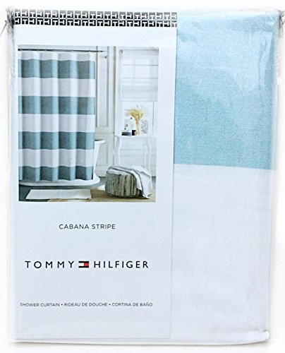 Tommy Hilfiger Cotton Shower Curtain Wide Stripes Fabric Shower Curtain Charcoal Grey Navy Blue