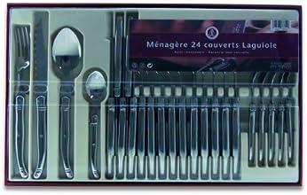 Laguiole Production 402010 Ménagère 24 Pièces Manche Metal Tout Inox
