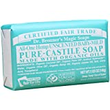 Dr. Bronner's Magic Soaps Pure-Castile Soap, All-One Unscented Baby-Mild, 5-Ounce Bars (Pack of 6)
