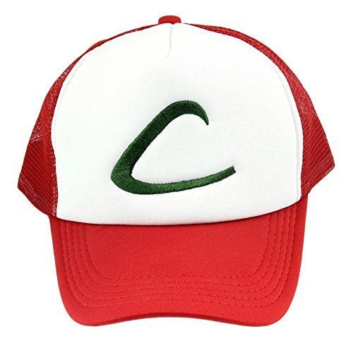 [Anime Cospaly Hat Pokemon ASH KETCHUM Visor Cap Costume Play Baseball Hat] (Spawn Costume For Kids)