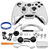 Super Custom Replacement Wireless Game Controller Shell Case Cover Kit for Xbox 360 - Includes Button Set, Torx & Phillips Head Screwdrivers (Silver)