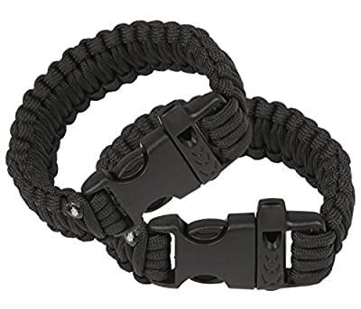 Attmu 2 Pack Outdoor Survival Paracord Bracelet with Fire Starter Scraper Whistle Kits