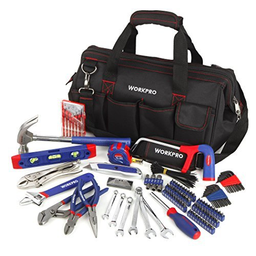 WORKPRO W009036A 156-piece Home Repairing Tool Set, Complete Daily Using Tools Are Included in Wide Open Mouth Tool Bag (Carpentry Tool Bags compare prices)
