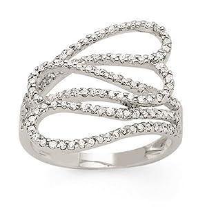 Bague Or blanc - Or 750 Millièmes (18 Carats): 4.60 Gr - Diamant: 0.60 Carat qualité HSI