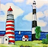 Continental Art Center BD-0426 8 by 8-Inch Light Houses Ceramic Art Tile