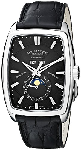 Armand Nicolet TM7 9632A-NR-P968NR3 38mm Automatic Stainless Steel Case Black Leather Anti-Reflective Sapphire Men's Watch