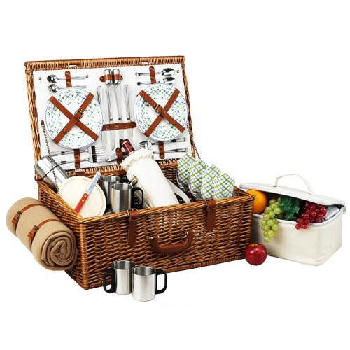 Picnic At Ascot Dorset Basket For With Coffee Set And Blanket, Gazebo