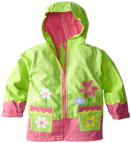 Stephen Joseph Girls 2-6x Flower Rain Coat,Lime Green,6x